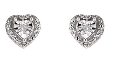 Silver Diamond Heart Stud Earrings