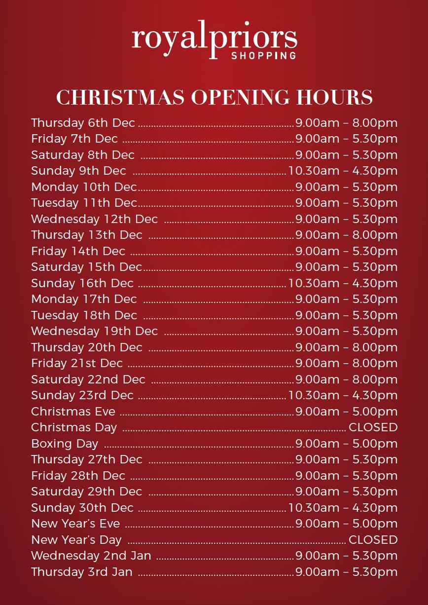 Christmas Opening Hours.Christmas Opening Hours Royal Priors Shopping Centre